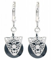 A-D21.3 E516-003 Earrings 1x2.5cm Cubic Zirconia with Leopard Silver