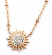 D-E19.2 N2020-008RG S. Steel Necklace 15mm Flower Crystals Rose Gold
