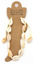 D-A18.5  ANK316-012 Anklet Shells Light Brown