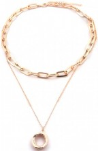 B-D23.2  N2019-001RG Layered Chain Necklace Rose Gold