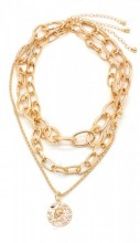 C-B20.1 N223-001 Necklace with Metal Chains and Coin Gold