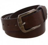 S-A7.5 Grain Leather Belt 3.3x110cm Adjustable 91-101cm Dark Brown