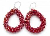 A-C5.1 E007-001 Facet Glass Beads 4.5x3.5cm Shiny Red