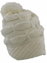 T-M3.1  Knitted Beanie with Pompon White