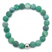 D-E7.3 B2121-001 Cracked Agate Bracelet Green