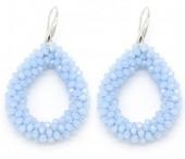 C-C20.1 E007-001 Facet Glass Beads 4.5x3.5cm Blue