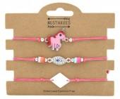 F-A20.1 B316-001 Bracelet Set 3pcs Unicorn Pink