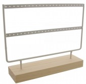 Z-A1.3 PK424-003 Wood with Metal Earring Display  27x22x7cm White