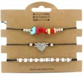 F-E9.1 B1936-009A Bracelet Set 3pcs Pearls-Stones-Heart Black