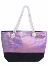 Y-B5.5 BAG327-002 Velvet Beach Bag with Metallic Print Pink