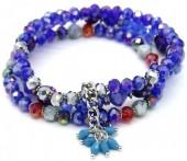 X-C6.2 B514-008 Layered Bracelet Facet Glass Beads Blue