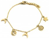 D-A16.4  B1939-011 Stainless Steel Bracelet with 7mm Charms Gold