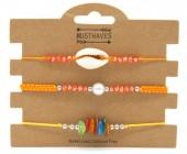 F-E8.1  B316-046 Bracelet Set 3pcs Shell Yellow-Orange