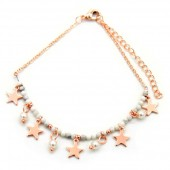 E-B7.4  B426-003 Bracelet with Beads and Stars Rose Gold