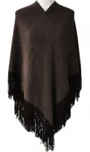 Z-C3.3 Luxury Poncho with Suedine Fringes Brown