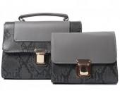 Y-A2.5  BAG419-001B PU Bag Set Snake 2pcs 26.5x19x8.5cm Grey
