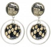 C-E19.4 E1631-009D Earrings Snake Brown 5x3cm Silver