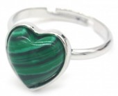 D-F20.2  R1934-009 Adjustable Ring Malachite Silver