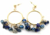 D-E8.1 E518-002A Earrings with Stones 4.5x2.5cm Blue-Gold