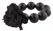 C-B16.1 Wooden Elastic Bracelet with 18mm Beads and PU Flower Black