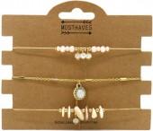 G-B17.3 B514-006 Bracelet Set Metal and Beads 3pcs Gold