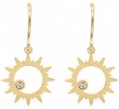 B-D18.5  E2004-002G S. Steel Earrings Sun 14mm Gold