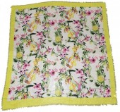 X-I8.1 SCARF508-003A Square Scarf with Flowers and Birds 130x130cm Yellow