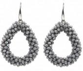 F-D17.3  E007-001H Facet Glass Beads 4.5x3.5cm Grey