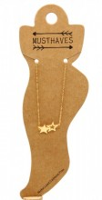 C-F4.2  ANK016-007 Stainless Steel Anklet Stars Gold