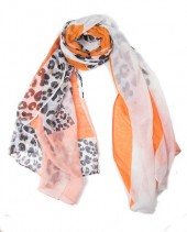 X-H2.1 SCARF507-014E Animal Print 180x90cm White-Orange