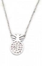 C-C5.1 N016-013 Stainless Steel Necklace Pineapple with Crystals Silver