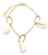 D-E3.2 B220-022G S. Steel Bracelet Shells Gold