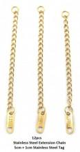 A-A19.3 EX301-037 S. Steel Extension Chain 5cm plus 1cm S. Steel Tag Gold 12pcs