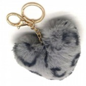 F-F9.1 KY414-001E Fluffy Keychain Heart Leopard Grey
