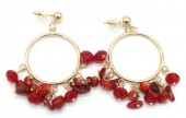 D-F6.5  E518-002C Earrings with Stones 4.5x2.5cm Red-Gold