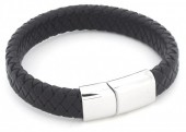 F-E20.1 B105-003 Leather Bracelet with Stainless Steel Lock 19cm Black