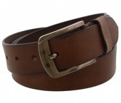 S-C5.1  Grain Leather Belt 3.3x120cm Adjustable 101-111cm Brown