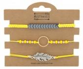 F-C17.1  B316-003 Bracelet Set 3pcs Feather-Circle Yellow
