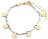 J-F6.1  B2039-018G Bracelet with Glass Beads and Coins Silver