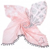 T-E5.2 S001-003 Scarf with Hearts-Stars-Animal Print and Tassels 140x140cm Pink