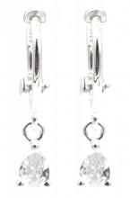 J-B10.2 SE104-543 925S Silver Earrings 10x16mm with CZ