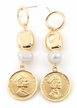 A-B19.8 E304-035 Earrings with Coin and Freshwater Pearl 5.5x1.5cm Gold