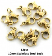 A-B15.2 LB301-036 S. Steel Lobster Buckle 10mm incl 4mm ring Gold 12pcs