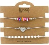F-F20.1 B1936-009B Bracelet Set 3pcs Pearls-Stones-Heart Grey
