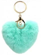 X-J9.2  KY414-003D Fluffy Bag-Keychain 10cm Heart Blue