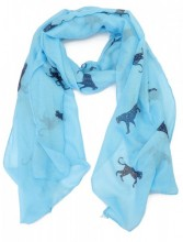 S205-001 Scarf with Leopards and Glitters 70x180cm Blue