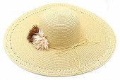 Z-B3.4 HAT504-033C Summer Hat with Flowers Light Brown