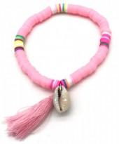 B-B15.2 B412-001B Surf Bracelet with Tassel and Shell Pink