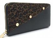 Q-P6.1 WA420-001 PU Wallet with Leopard Fur and Screws Brown