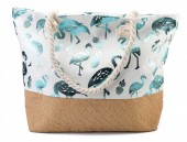 Y-C4.2 BAG217-004 Beach Bag with Wicker and Metallic Flamingos and Pineapples 54x40cm White-Blue